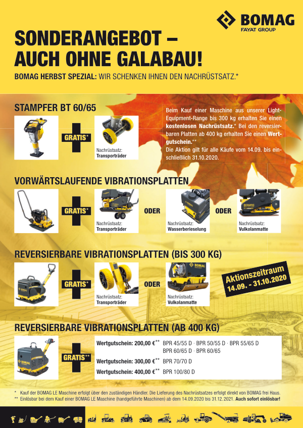 Aktionsflyer BOMAG LE Herbstaktion 2020